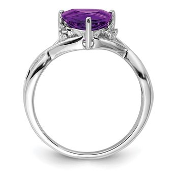 Sterling Silver Rhodium Plated Amethyst White Topaz Trillion Ring