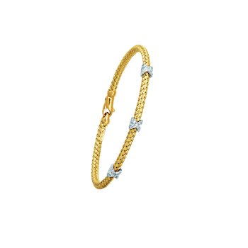 14K Gold .15ct Diamond X Station Woven Bangle