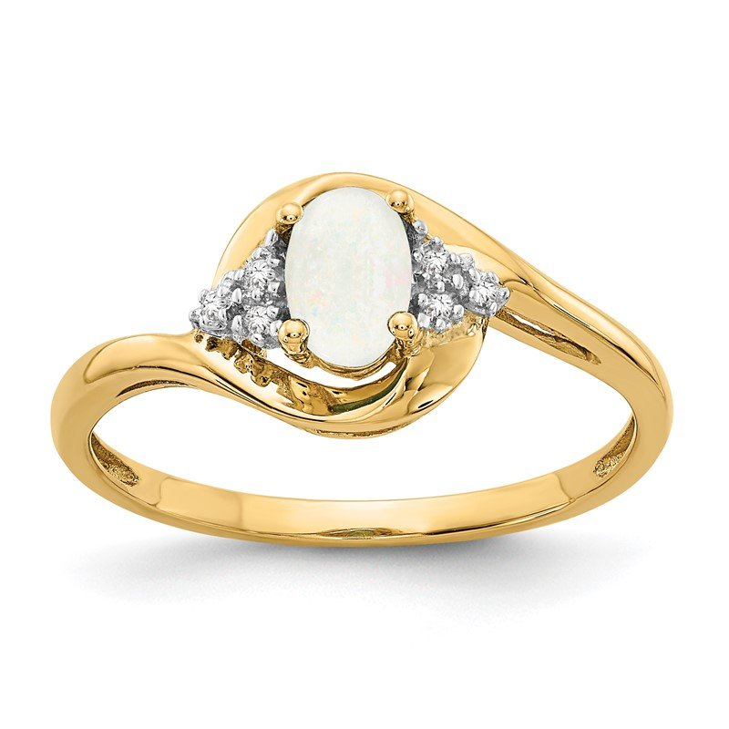 Quality Gold 14k Opal and Diamond Ring