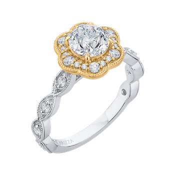 18K Tow-Tone Gold Round Cut Diamond Floral Halo Engagement Ring (Semi-Mount)