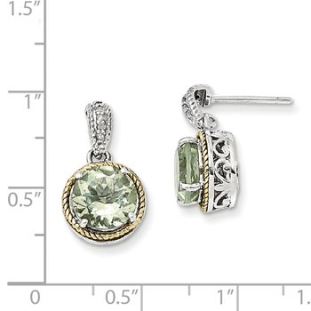 Sterling Silver w/14k Green Quartz & Diamond Post Dangle Earrings