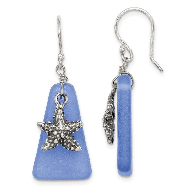 Quality Gold Sterling Silver Blue Sea Glass Starfish Dangle Earrings