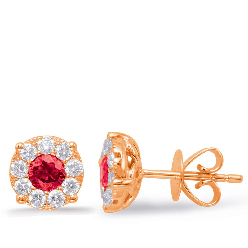 S. Kashi  & Sons Rose Gold Ruby & Diamond Earring