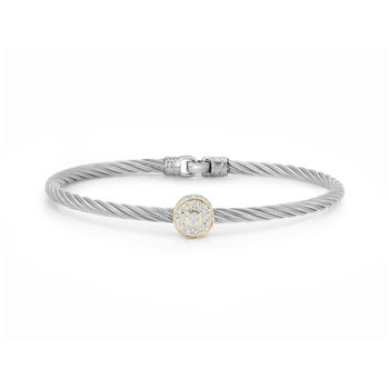 Grey Cable Essential Stackable Bracelet with Single Large Round Diamond station set in 18kt Yellow Gold