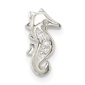 Sterling Silver CZ Seahorse Chain Slide