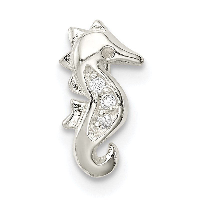 Quality Gold Sterling Silver CZ Seahorse Chain Slide