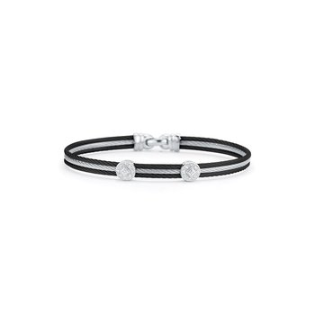 Black & Grey Cable Classic Stackable Bracelet with Double Round Station set in 18kt White Gold