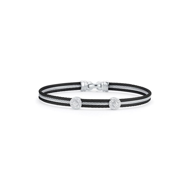 ALOR Black & Grey Cable Classic Stackable Bracelet with Double Round Station set in 18kt White Gold