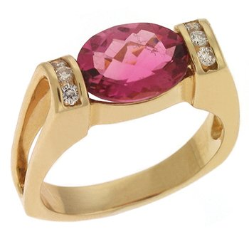 Pink  Tourmaline & Diamond Rin