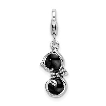 Sterling Silver Amore La Vita Rhodium-plated Black Enameled Cat Charm