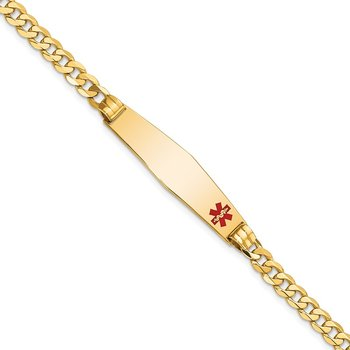 14K Medical Soft Diamond Shape Red Enamel Curb Link ID Bracelet