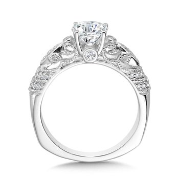Vintage Milgrain & Filigree Accented Diamond Engagement Ring