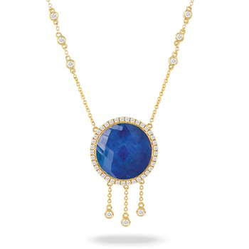 Royal Lapis Halo Neckace 18KY