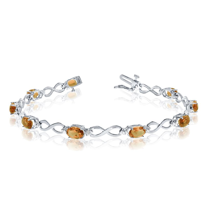 Color Merchants 10K White Gold Oval Citrine and Diamond Bracelet