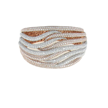 18Kt Gold Diamond Wave Crossover Bangle