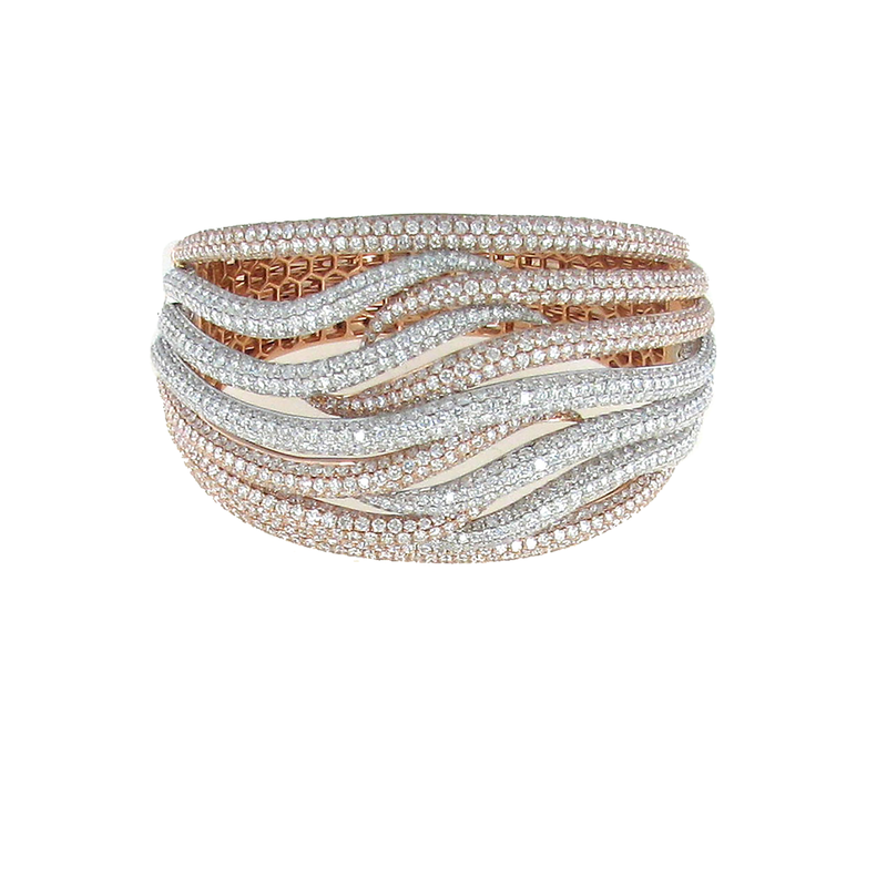 Roberto Coin 18Kt Gold Diamond Wave Crossover Bangle