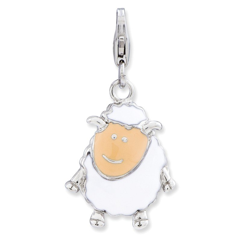 Quality Gold Sterling Silver Enameled Sheep w/Lobster Clasp Charm