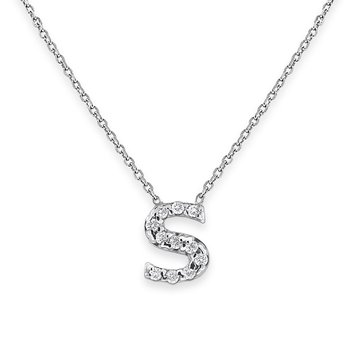 Diamond Bitty Block Initial S Necklace
