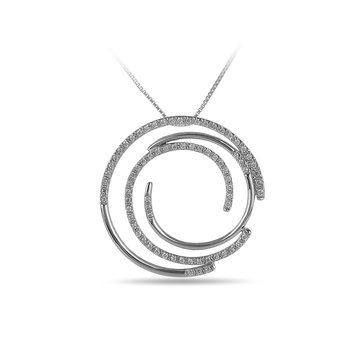 14K WG Diamond Multi Circle Slider Pendant in Prong Setting