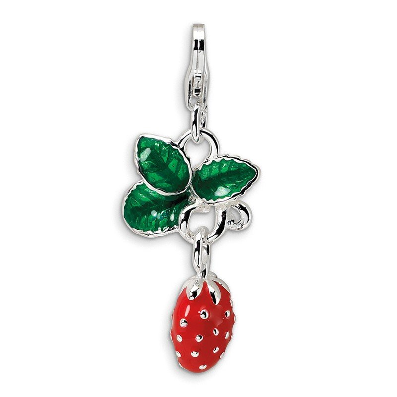 Quality Gold Sterling Silver 3-D Enameled Strawberry w/Lobster Clasp Charm