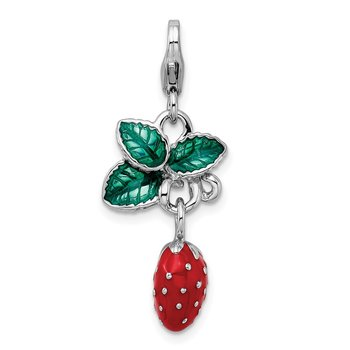Sterling Silver Amore La Vita Rhodium-pl 3-D Enameled Strawberry Charm