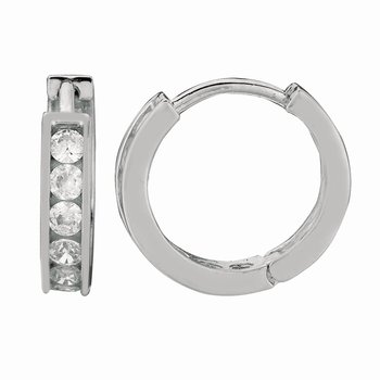 Silver Channel Set 3x10mm CZ Hoop Earrings
