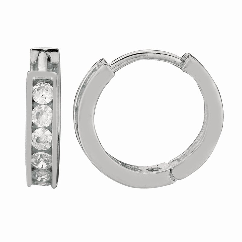 Royal Chain Silver Channel Set 3x10mm CZ Hoop Earrings