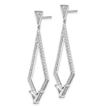 Sterling Silver RH-plated CZ Dangle Post Earrings