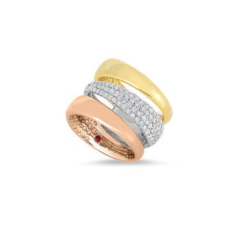 18KT GOLD 3 ROW RING WITH DIAMONDS