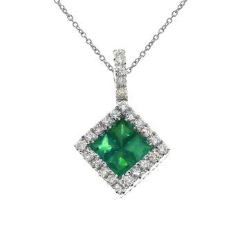 14K White Gold Emerald Princess Pendant