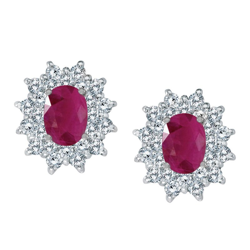 Color Merchants 14k White Gold Oval Ruby and Diamond Stud Earrings