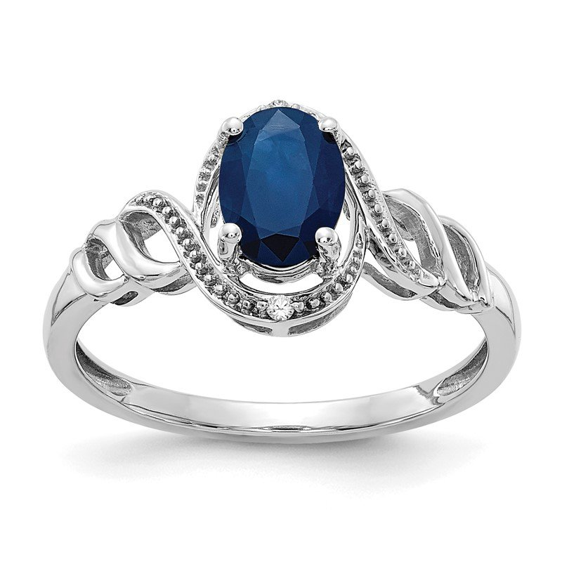 Quality Gold 10k White Gold Sapphire and Diamond Ring