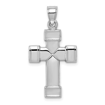 Sterling Silver Rhodium-plated Hollow Reversible Cross Pendant