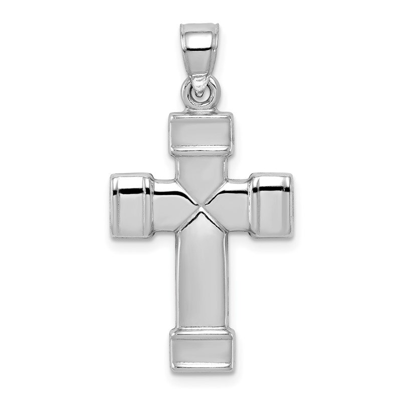 JC Sipe Essentials Sterling Silver Rhodium-plated Hollow Reversible Cross Pendant