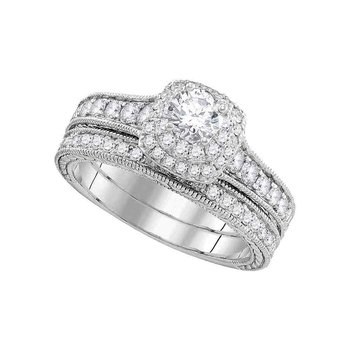 14kt White Gold Womens Round Diamond Milgrain Bridal Wedding Engagement Ring Band Set 1.00 Cttw