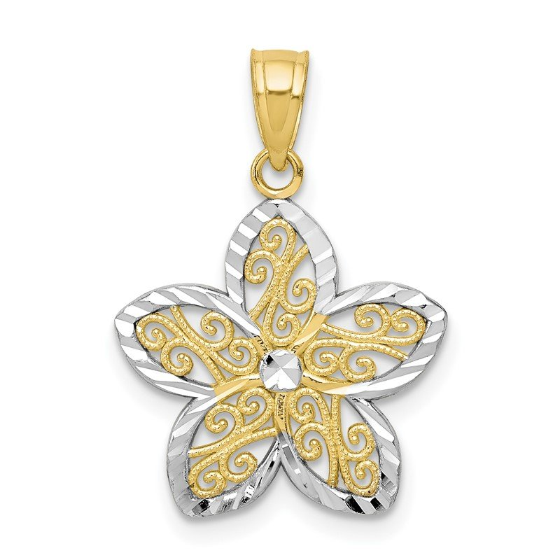 Quality Gold 10K w/Rhodium Filigree Flower Charm