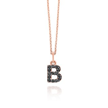"Black Diamond Baby Block Initial ""B"" Necklace"
