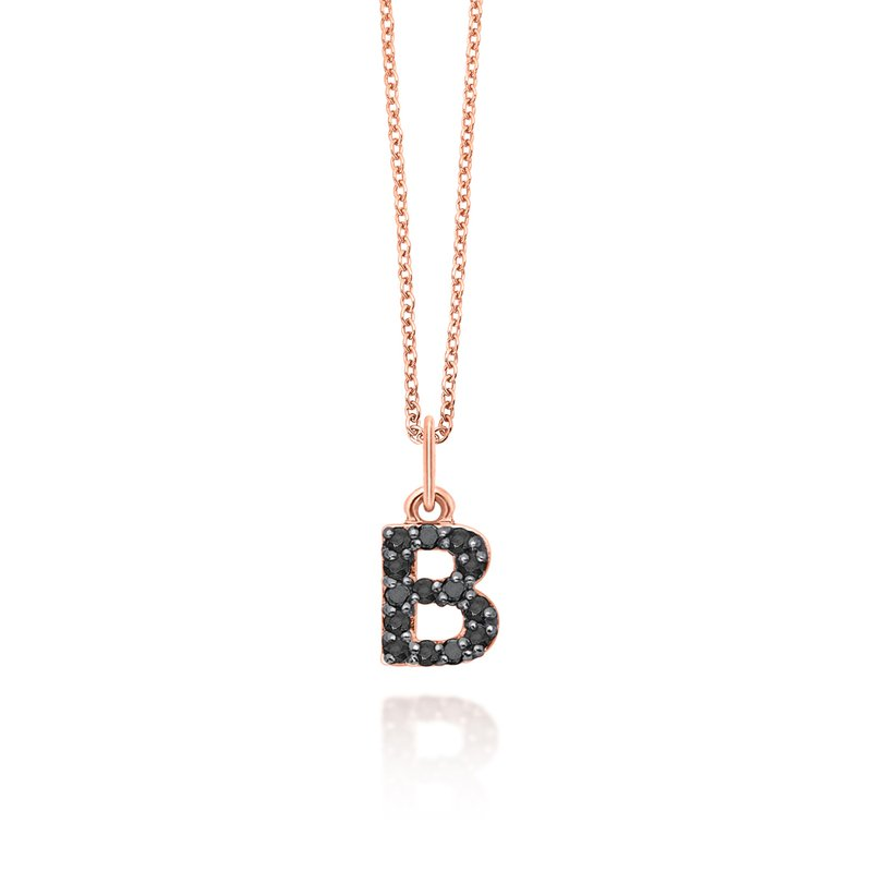 "MAZZARESE Fashion Black Diamond Baby Block Initial ""B"" Necklace"