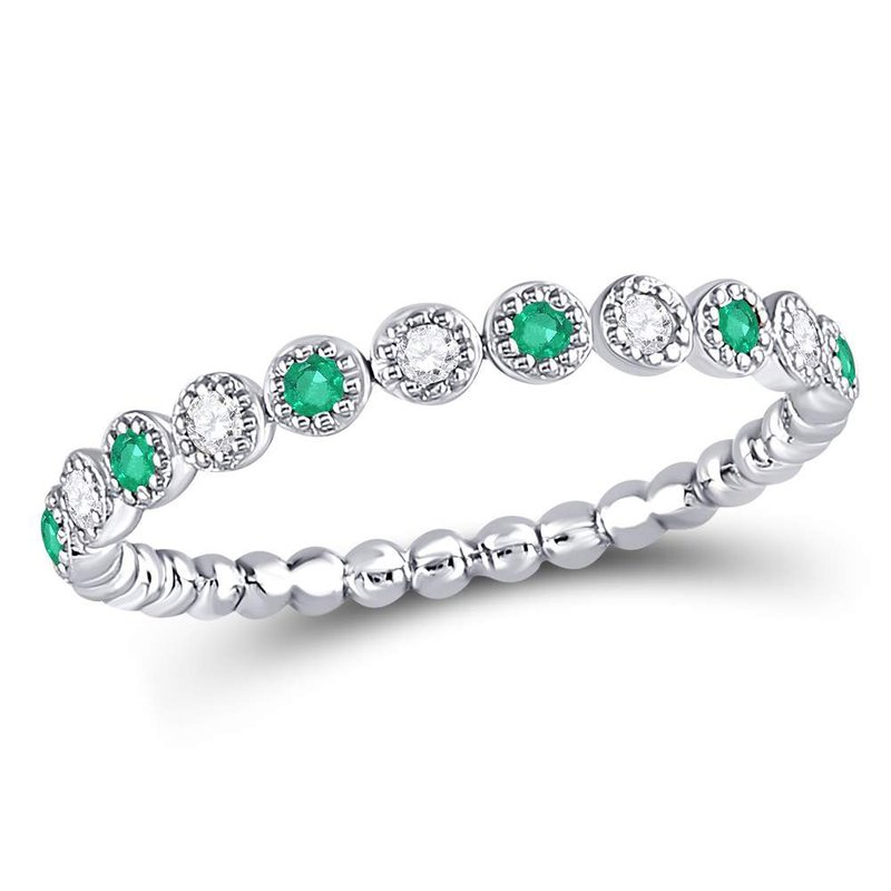 Gold-N-Diamonds, Inc. (Atlanta) 10kt White Gold Womens Round Emerald Diamond Dot Stackable Band Ring 1/6 Cttw