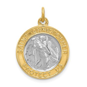 Sterling Silver Rhodium-plated & Gold-plated St. Christopher Medal