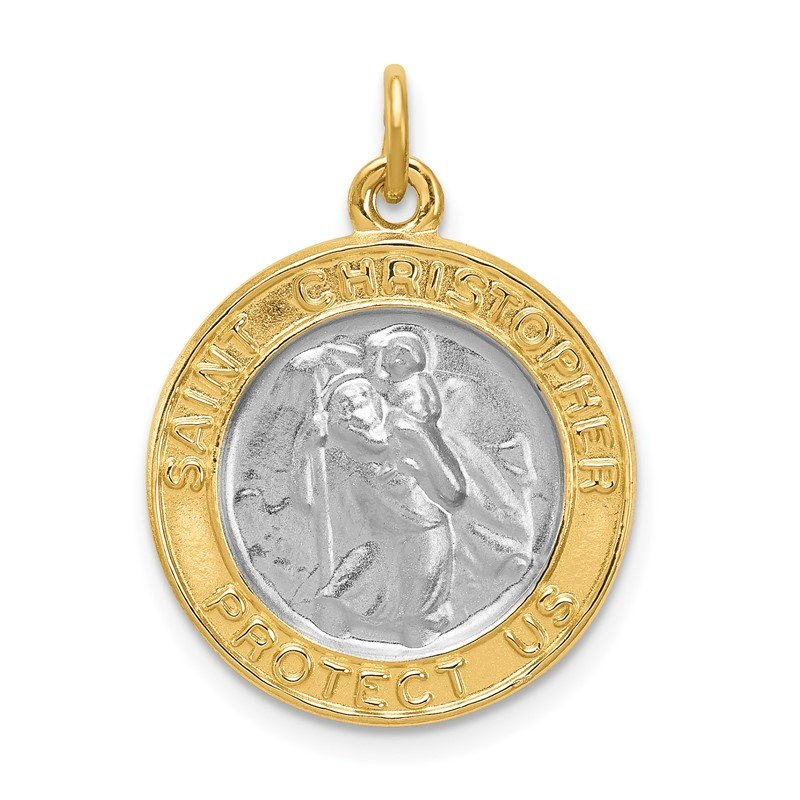 Quality Gold Sterling Silver Rhodium-plated & Gold-plated St. Christopher Medal