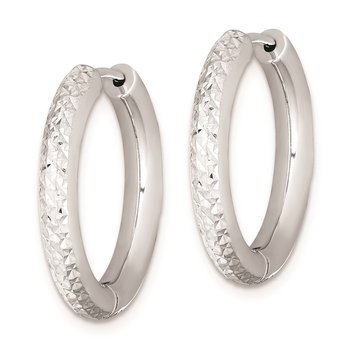 Sterling Silver Rhodium Polished Diamond Cut Hinged Hoop Earrings