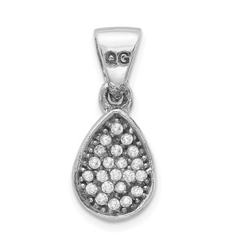 Sterling Silver Rhodium-plated CZ Polished Teardrop Pendant