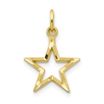 10K Diamond-Cut Flat Back Star Charm
