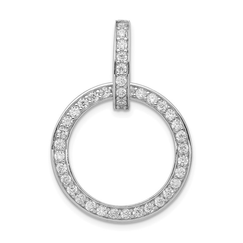 Quality Gold Sterling Silver CZ Circle Pendant