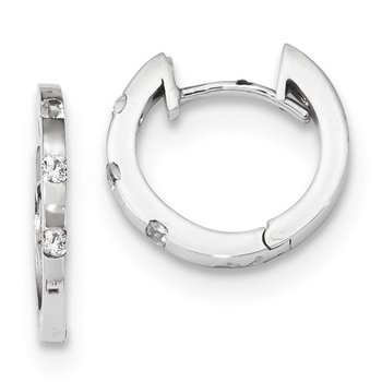 14k White Gold CZ Polished Hinged Hoop Earrings