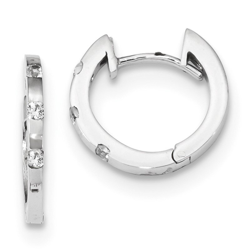 Quality Gold 14k White Gold CZ Polished Hinged Hoop Earrings