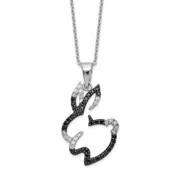 Cheryl M Sterling Silver CZ Bunny 18in Necklace