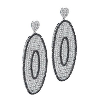 Contemporary Couture by MAZZARESE Gothica Black & White Diamond Earrings