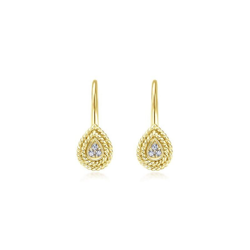 Gabriel Fashion 14K Yellow Gold Teardrop Diamond Drop Earrings with Twisted Rope Frames